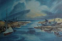 17 Fischerhafen Ostsee Aquarell 1952